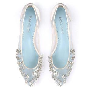 Bella Belle Crystal Embellished Ivory Flats